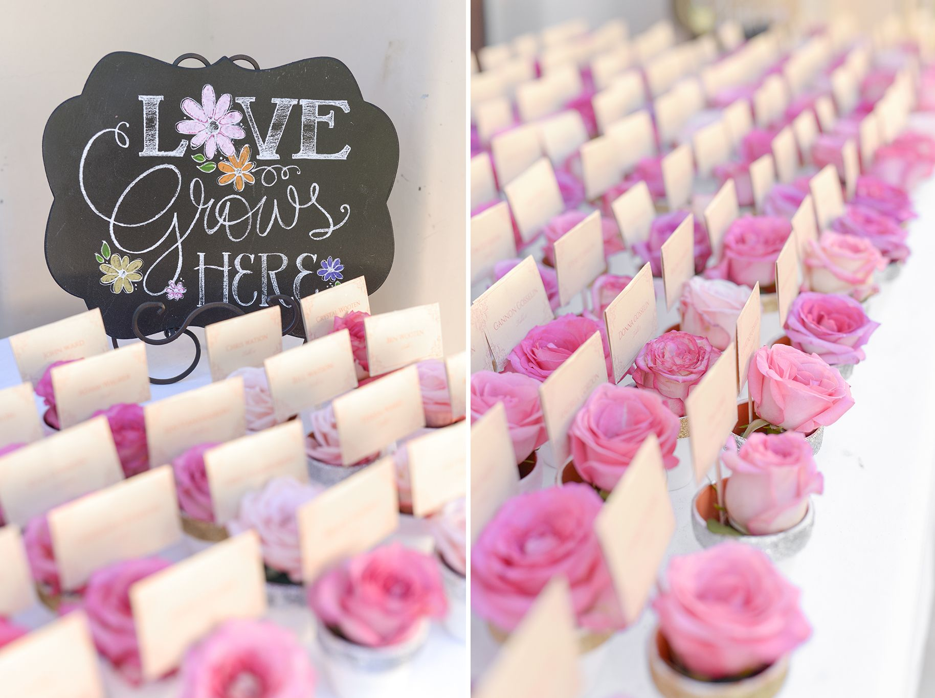 These sweet rosebud escort cards double as favors! | Wedding Ideas ...