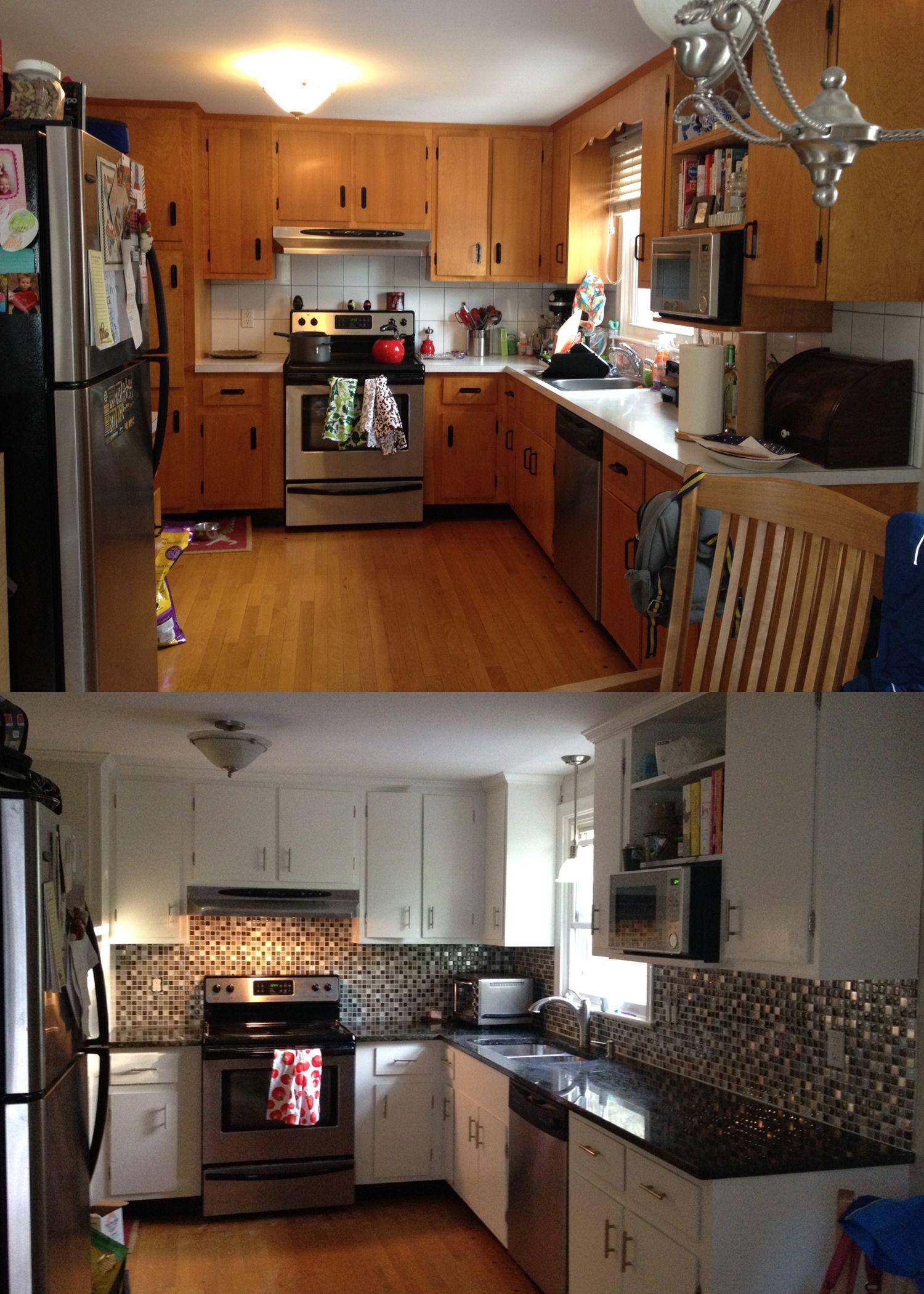 1960s ranch house maple kitchen to a white kitchen glass mosaic rh pinterest ca