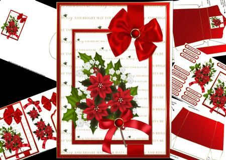 Merry and bright Christmas mini kit on Craftsuprint designed by Carol Smith - a mini kit for Christmas which is simple yet elegant, it is a decoupage sheet but can also be made up as a quick card and has a beautiful spray of Christmas flowers tied up with a satin bow and placed on a mat which has the words may your days be merry and bright delicately written in gold, finished of with a beautiful big red co-ordinating tags for the placement of your choice say merry Christmas, happy holiday…