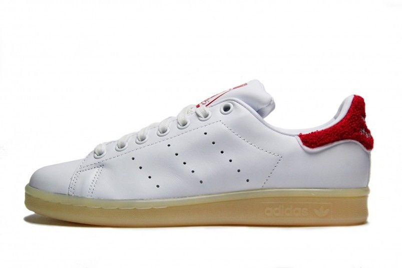 best sneakers 0b0f9 e08bf Promotion Homme Adidas Original Stan Smith chaussures blanc-  blanc-Collegiate rouge S
