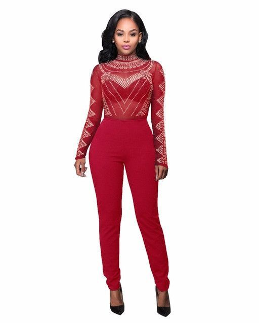 8b2893dbb34 Sexy Bodycon Bandage Jumpsuit Women Overalls Long Sleeve Mesh Bodysuit Black  Turtleneck Jumpsuits Vintage Printed Women Rompers