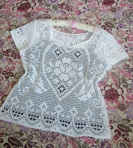 Filet häkeln Top / Nice filet crochet top with diagramme   crochet ...