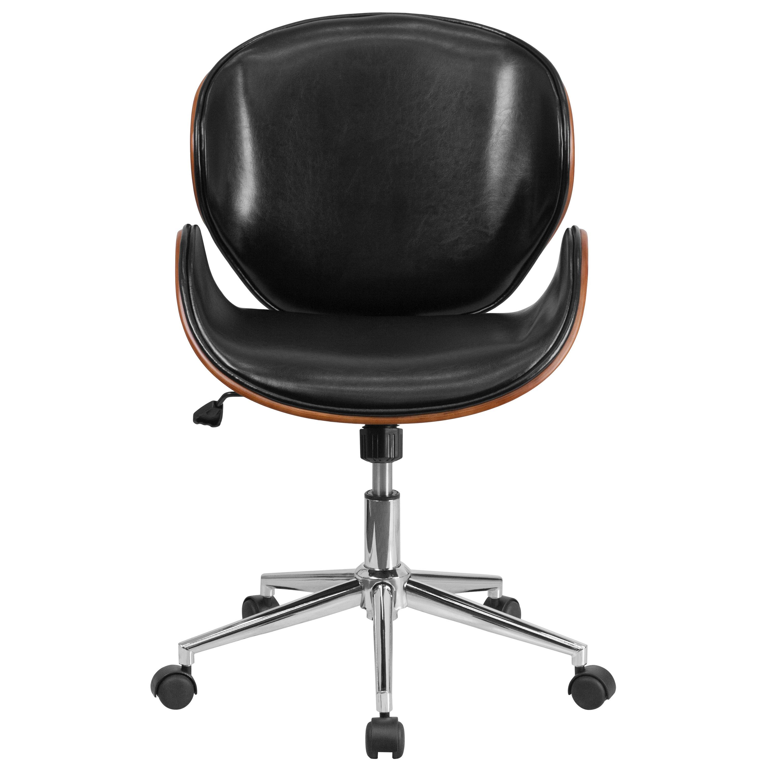 Wood conference chairs - Mid Back Walnut Wood Swivel Conference Chair In Black Leather