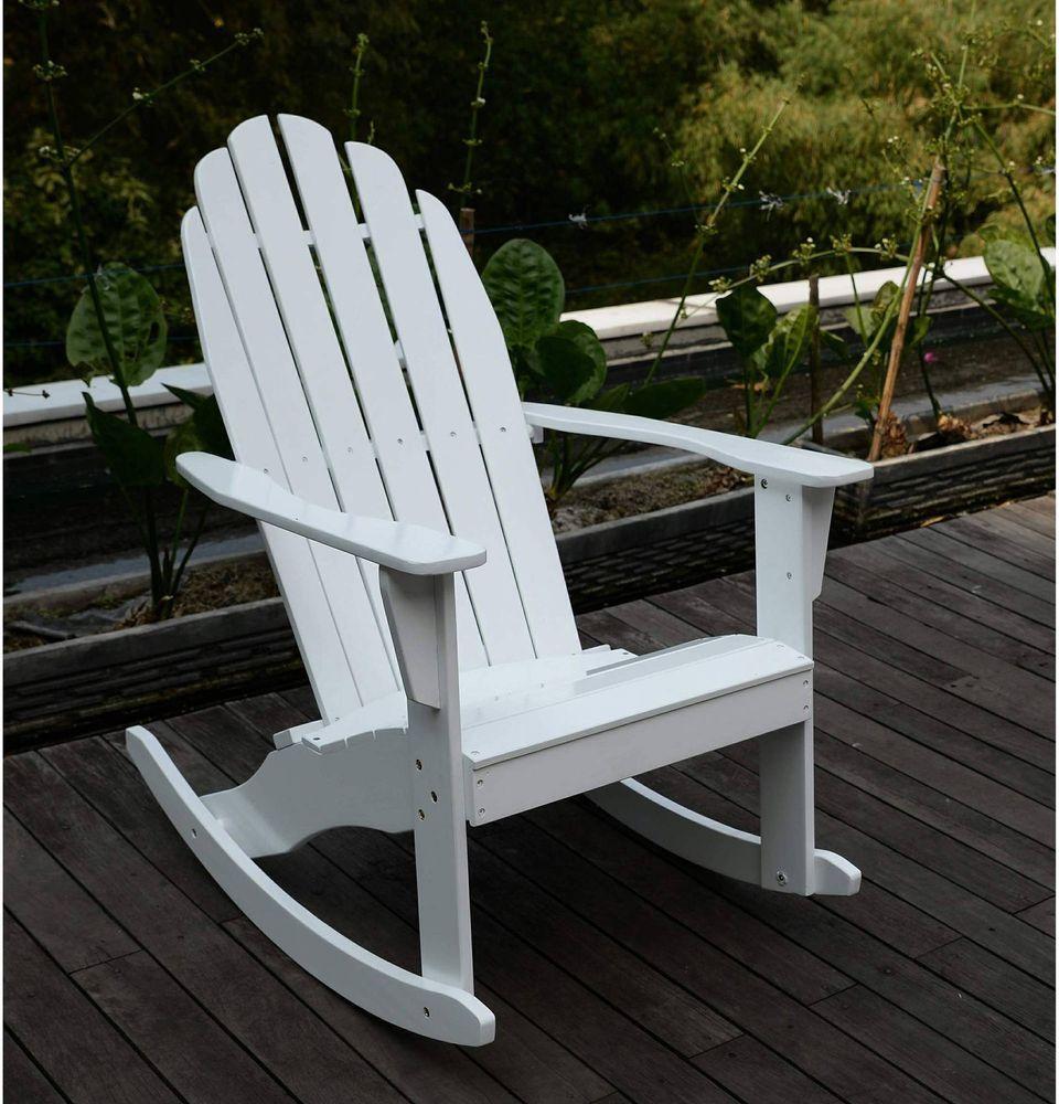 Adirondack rocking chair hardwood comfortable wide seat
