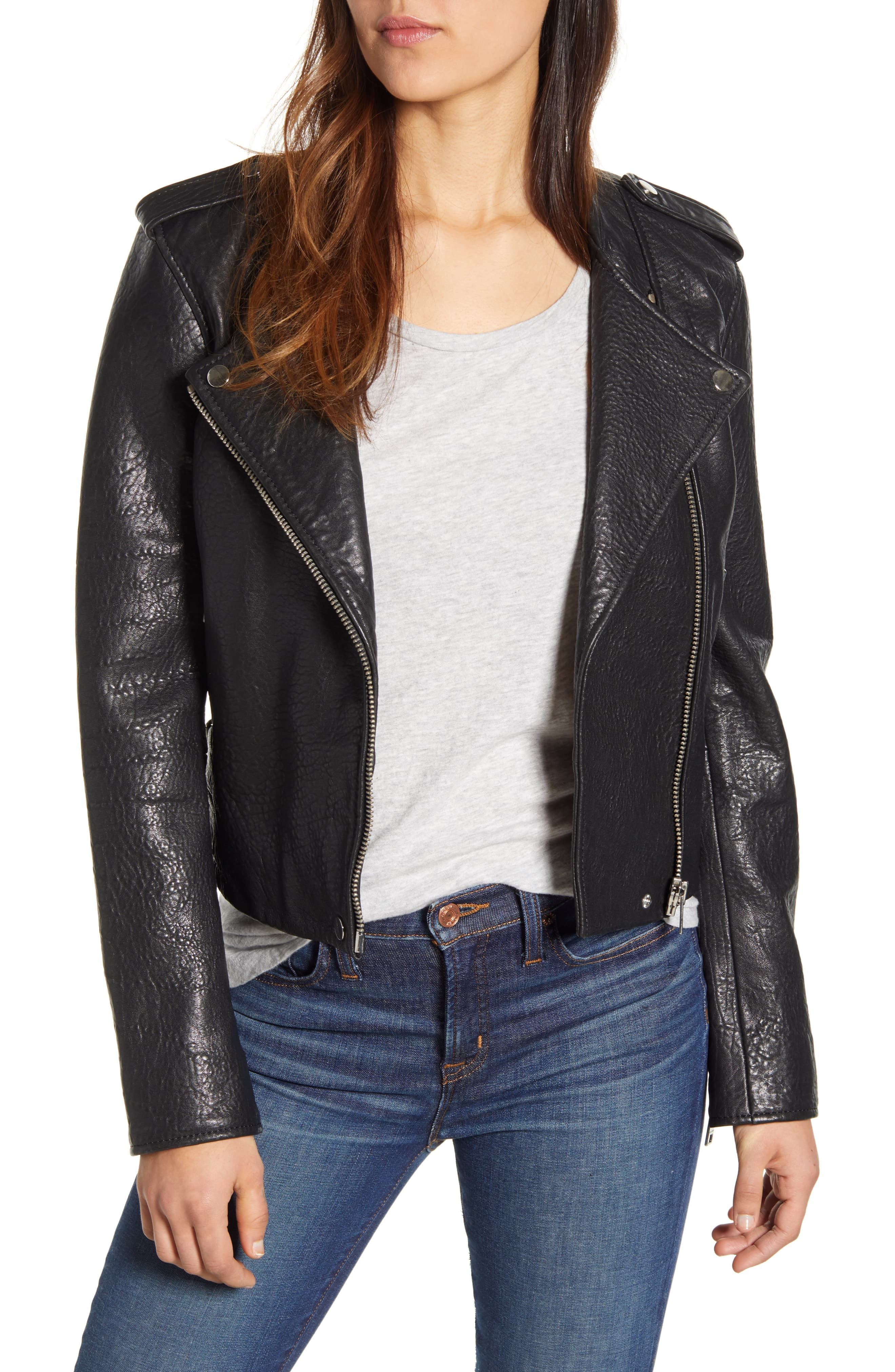 Lucky Brand Pebble Leather Moto Jacket Leather jacket