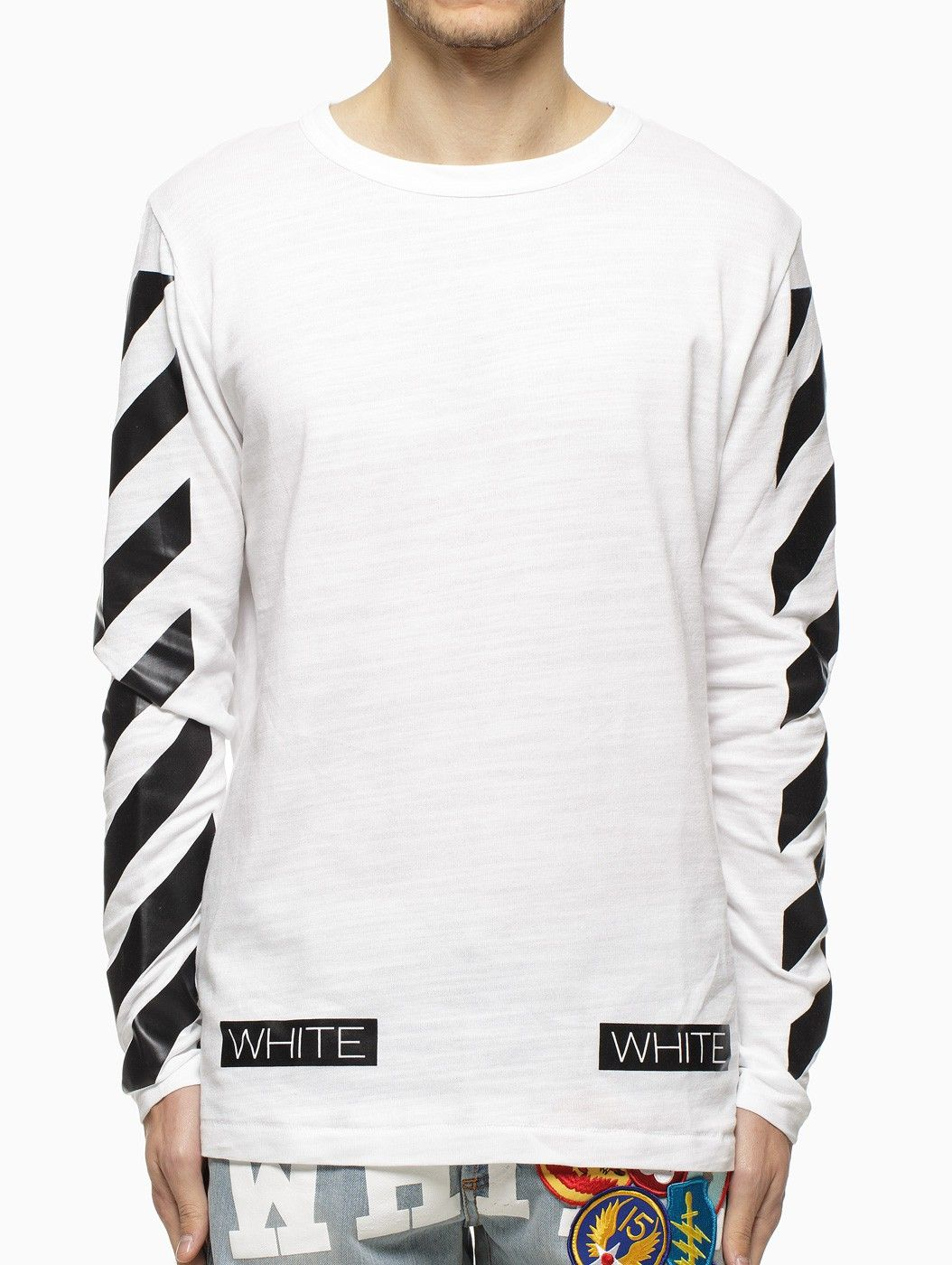 061220579f07 Striped long sleeve t-shirt from the S S2015 Off-White c o Virgil Abloh  collection in white.