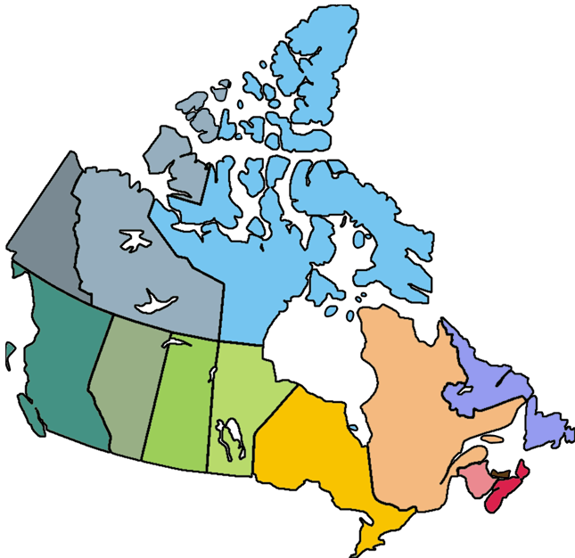 Colourful Map of Canada without Labels Gaselnite Pinterest