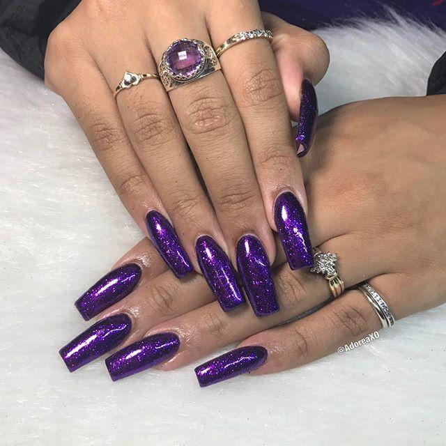 Purple long nails | Double Team + Dynamicpunch Violet Purple ...