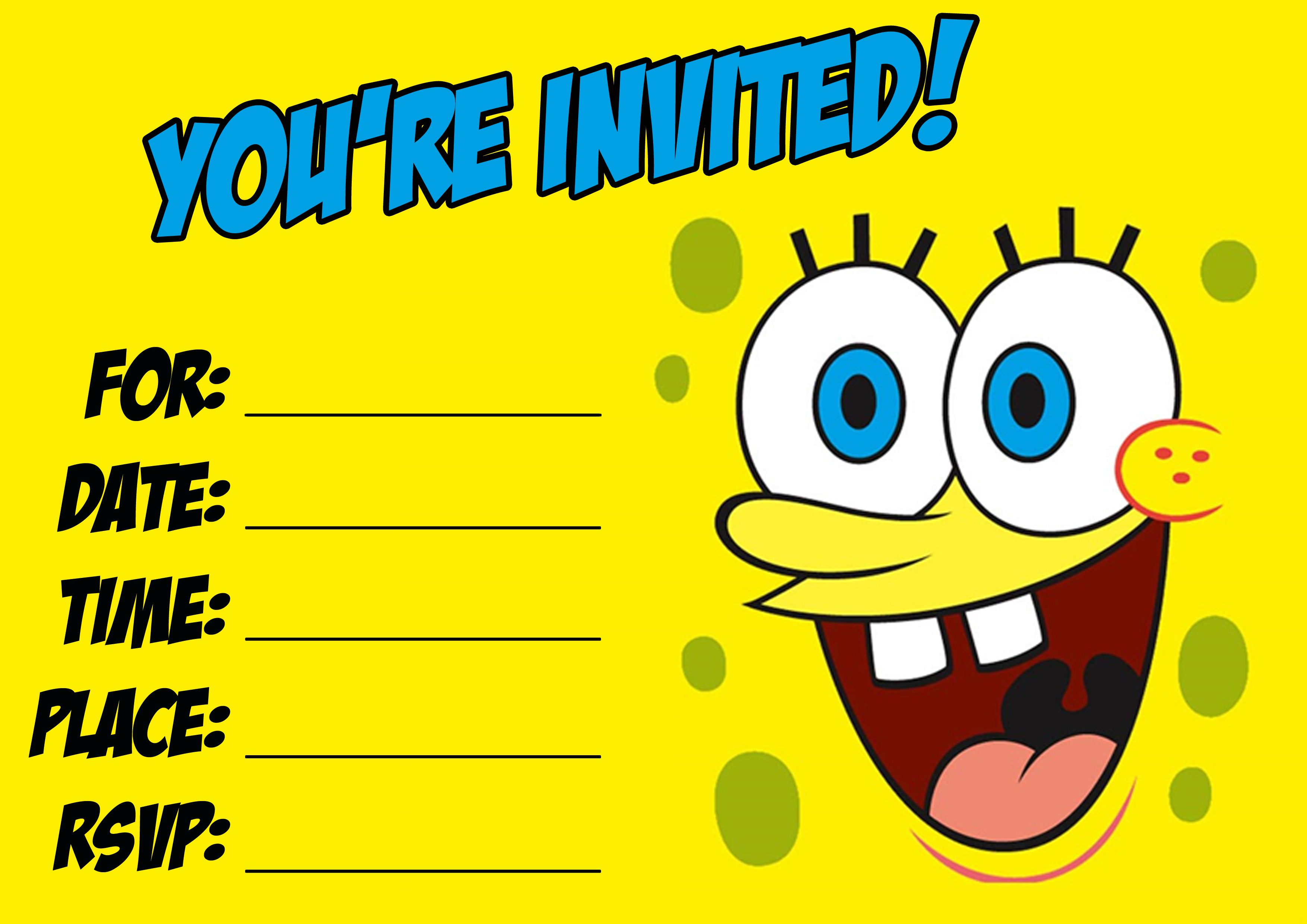 Download This Spongebob Party Invitation Birthday Templates
