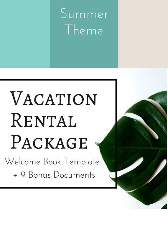 10 Item Package Summer Colors -- Vacation Rental Welcome Book