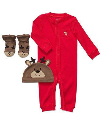 Carter\u0027s Baby Set, Baby Girls or Boys Christmas Reindeer 3-Piece Set
