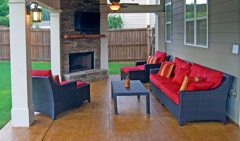 Wood Plank Stamp Patterned Patio Concrete Patio Cost