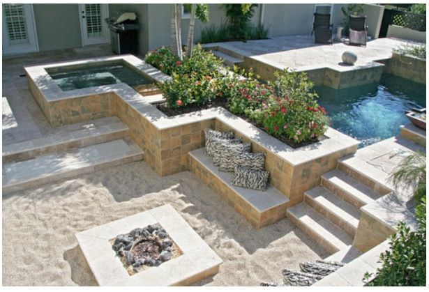 Awesome Backyard Pool Hot Tub And Beach Firepit Backyard Beach Backyard Fire Fire Pit Backyard