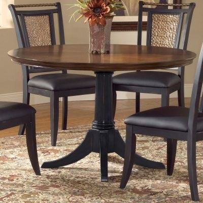 Norwood 48 Inch Round Dining Table Distressed Black Base Modern Dining Tables Dining Table Dark Wood Dining Room Set Round Kitchen Table