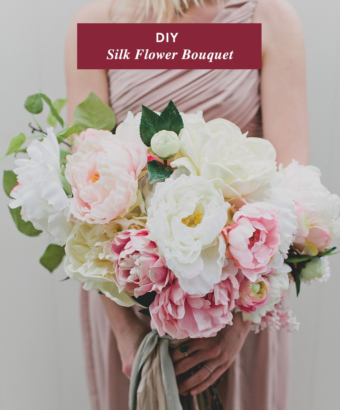 DIY Silk Flower Bouquet With Afloral Peonies Wedding