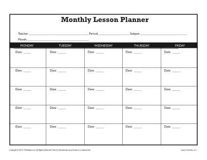 monthly lesson plan template secondary teaching pinterest