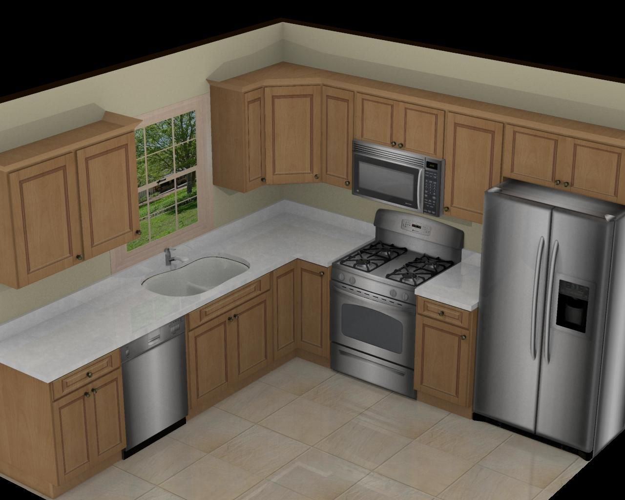 10x10 kitchen on pinterest l shaped kitchen kitchen for Kitchen cabinets 10 x 12
