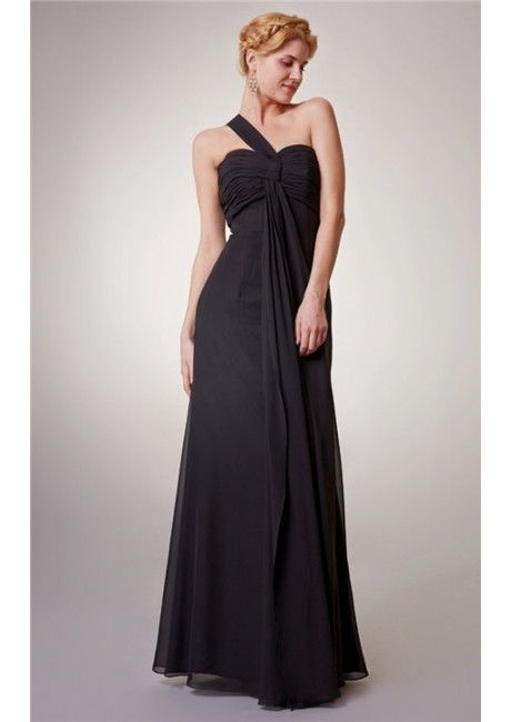 A-line Sleeveless Ruched One Shoulder Floor Length Black Chiffon Zipper Bridesmaid Dresses
