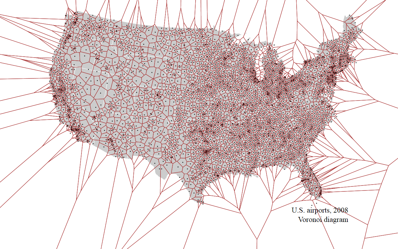 Us Airports Voronoi Diagram The Eastern Seaboard Is Dominated By Figure 2 Centroidal With Generators Three Tiny Near Ocean Or On An Island