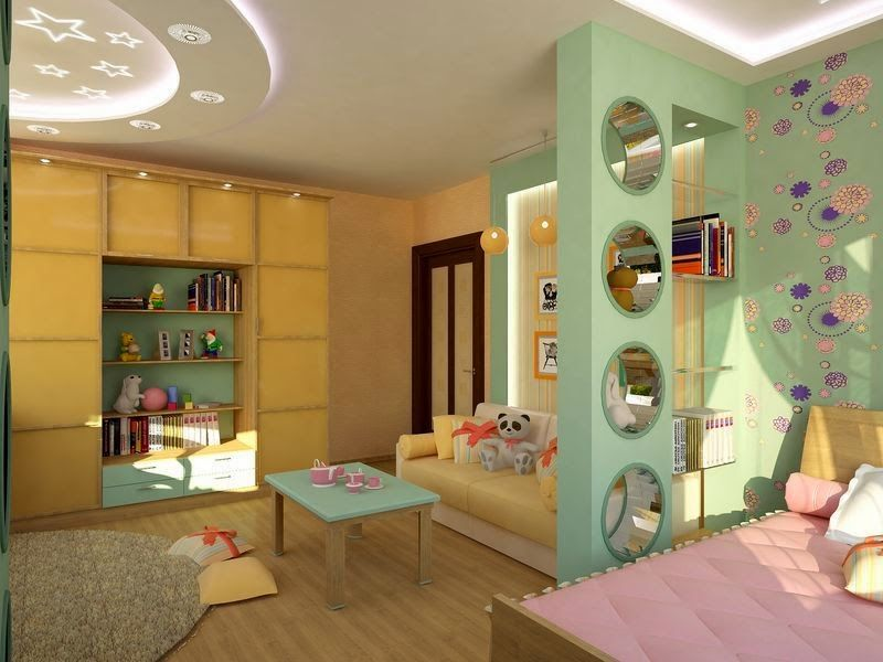 girls room design ideas - gypsum false ceiling with lighting and