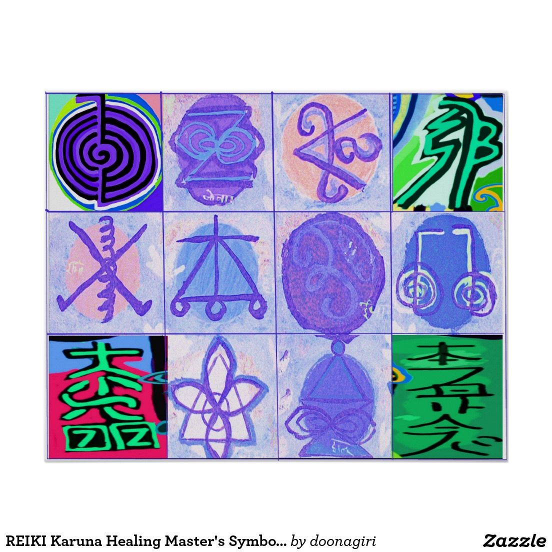 Reiki karuna healing masters symbols poster 101 zazzle pro reiki karuna healing masters symbols poster biocorpaavc