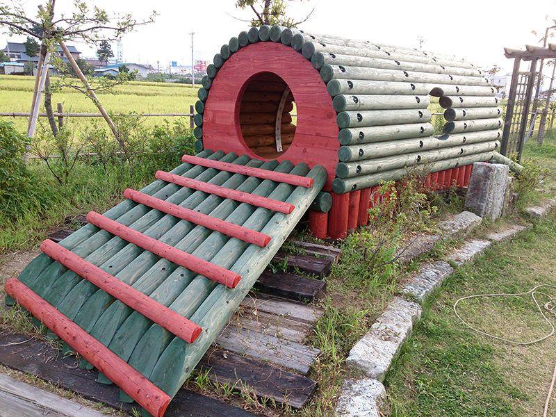 木製丸太遊具 猪苗代町の工務店 Wood Homes Omni 遊具 ツリーハウス ジャングルジム