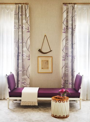 Matt Murphy for SF Decorator Showcase 2012 -  guest suite in a historic Pacific Palisades mansion - vintage daybed by Tommie Parzinger in Kravet plum silk, a 1913 Picasso etching, and drum table designed by Murphy.