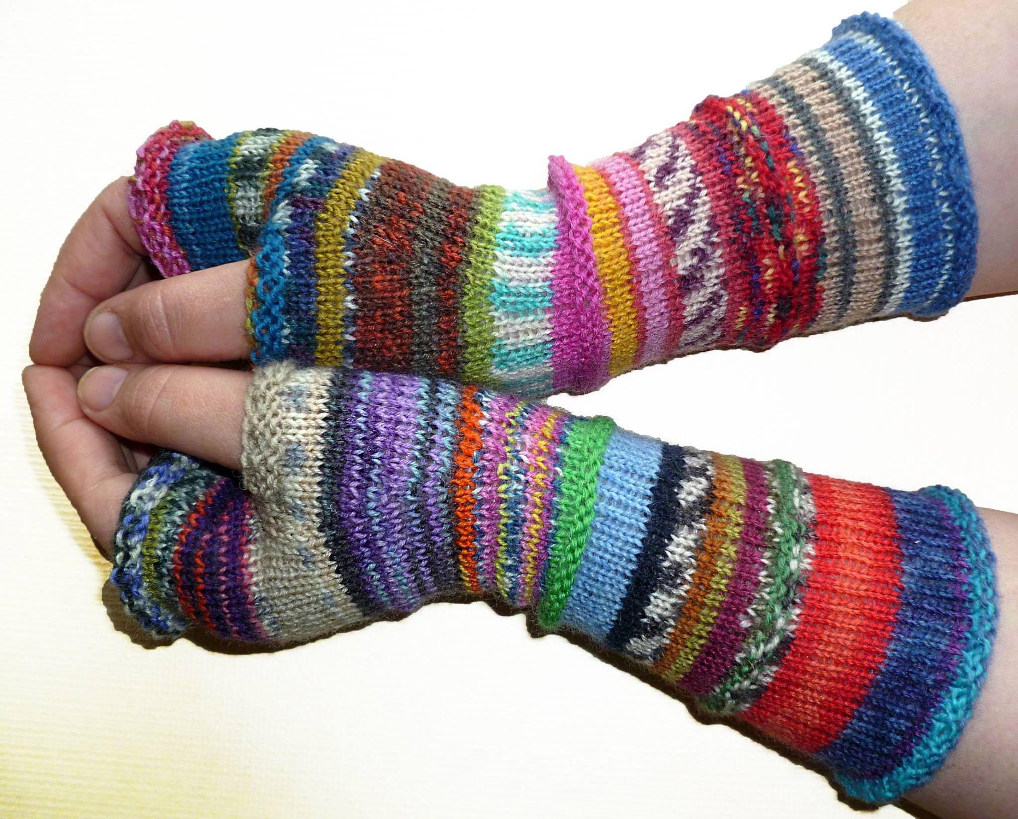 Fingerless Gloves Arm Warmers Womens Long Knitting Knit Hoodie Maroon