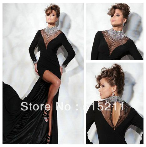Designer Style Luxurious Crystal Sheer High Neck Neck Long Sleeves Black Chiffon Side Slit Mermaid Evening Dress Prom Gowns 2014 $128.00
