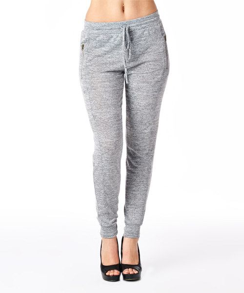 Take a look at the Heather Gray Zipper-Pocket Lounge Pants on #zulily today!