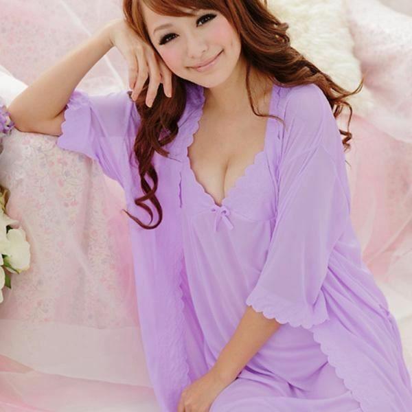 Women/'s Sling Lingerie Sleepwear 2pcs sleep Dress Silk Robe Nightgown Nightdress