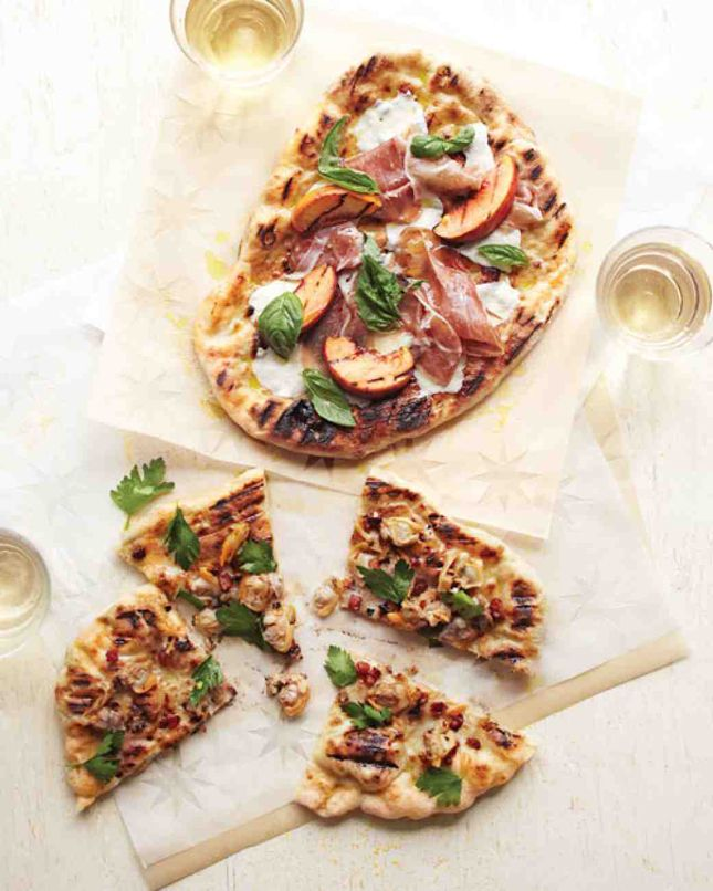 Save this healthier dinner recipe to make a Grilled Peach Pizza With Prosciutto.