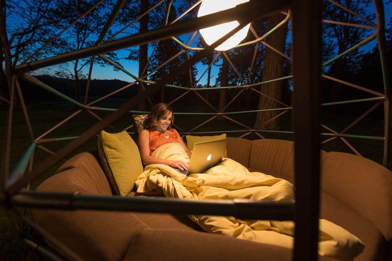 Kodama Zome Hanging Bed 3 Design Milk Outdoor Hammock Outdoor Bed Swing Outdoor Loungers