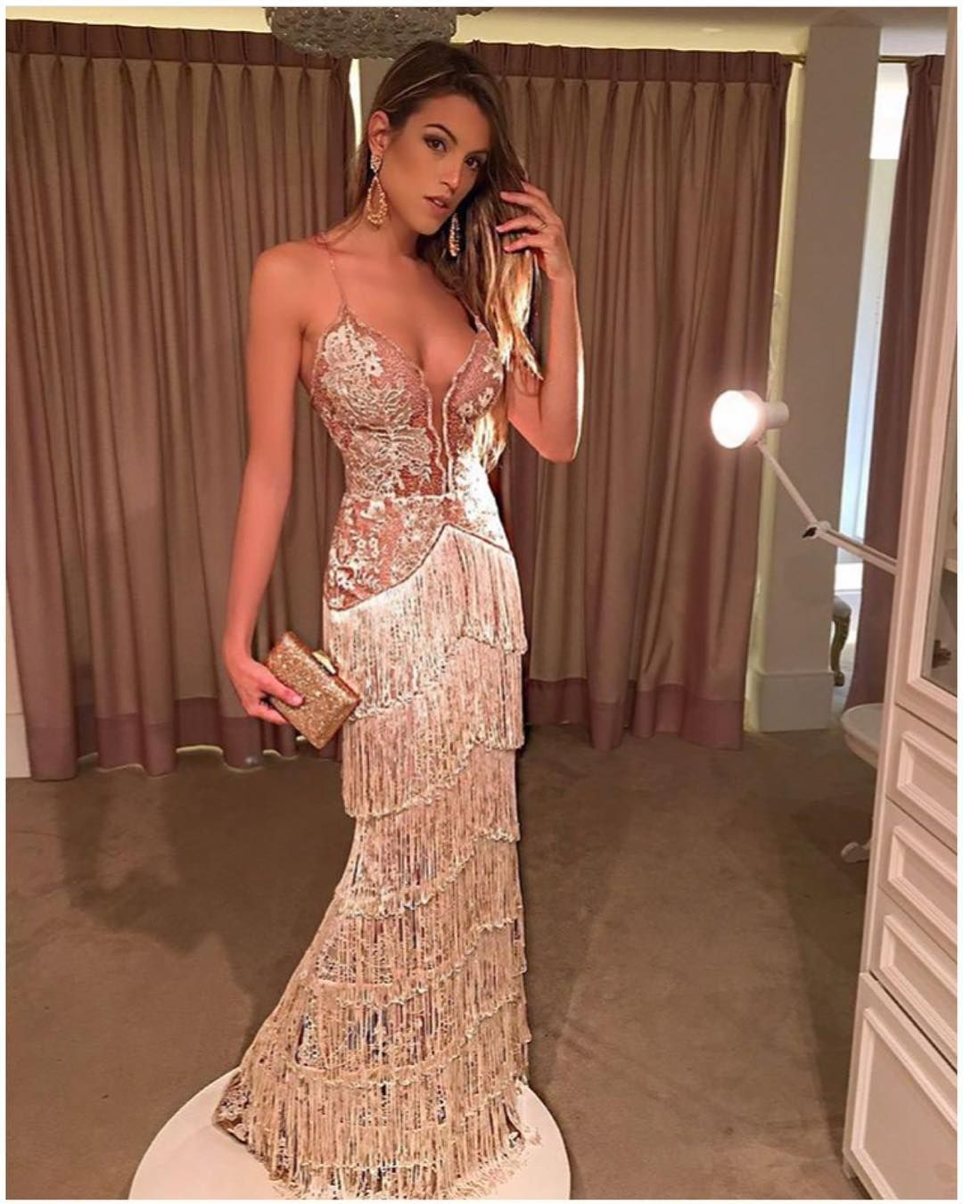 Vestido de Festa Dourado/Nude Sereia - Fino Traje Moda Festa