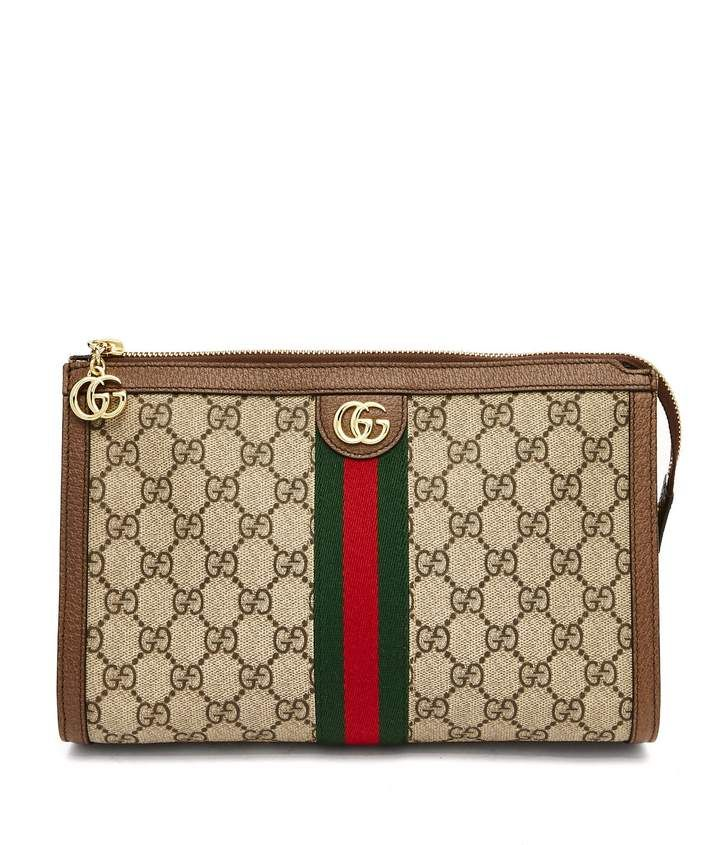 05af3a17f78a5a #GUCCI Ophidia logo canvas #washbag! Gucci's web stripe was first  introduced in the 1950s and it lives on today in this Ophidia GG Supreme  canvas and ...