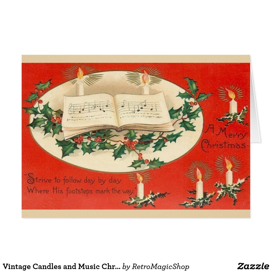 Vintage Candles and Music Christmas Greeting Card | Vintage ...