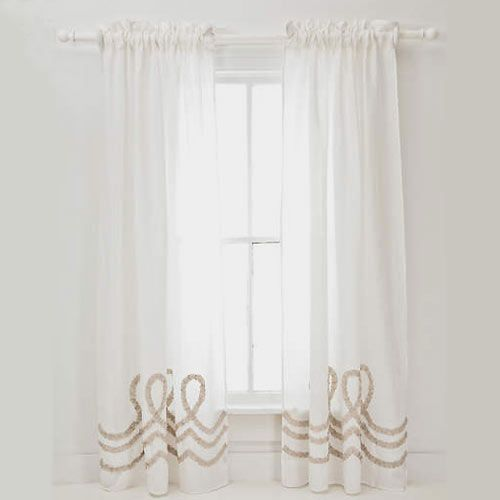 Ruched Linen White/Platinum Window Panel: I would like to add a pink ribbon to hold the panels back and give some color to help bring the nursery together.  #PoshTotsNursery