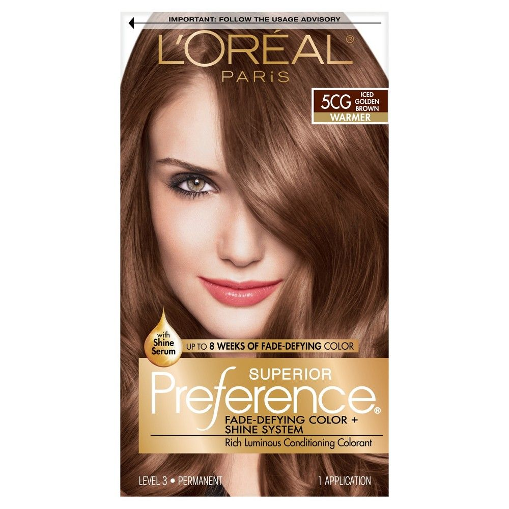 L Oreal Paris Superior Preference Fade Defying Color Shine System 1 Ultimate Black 1 Kit Hair Color Golden Brown Hair Color Hair Color Cream