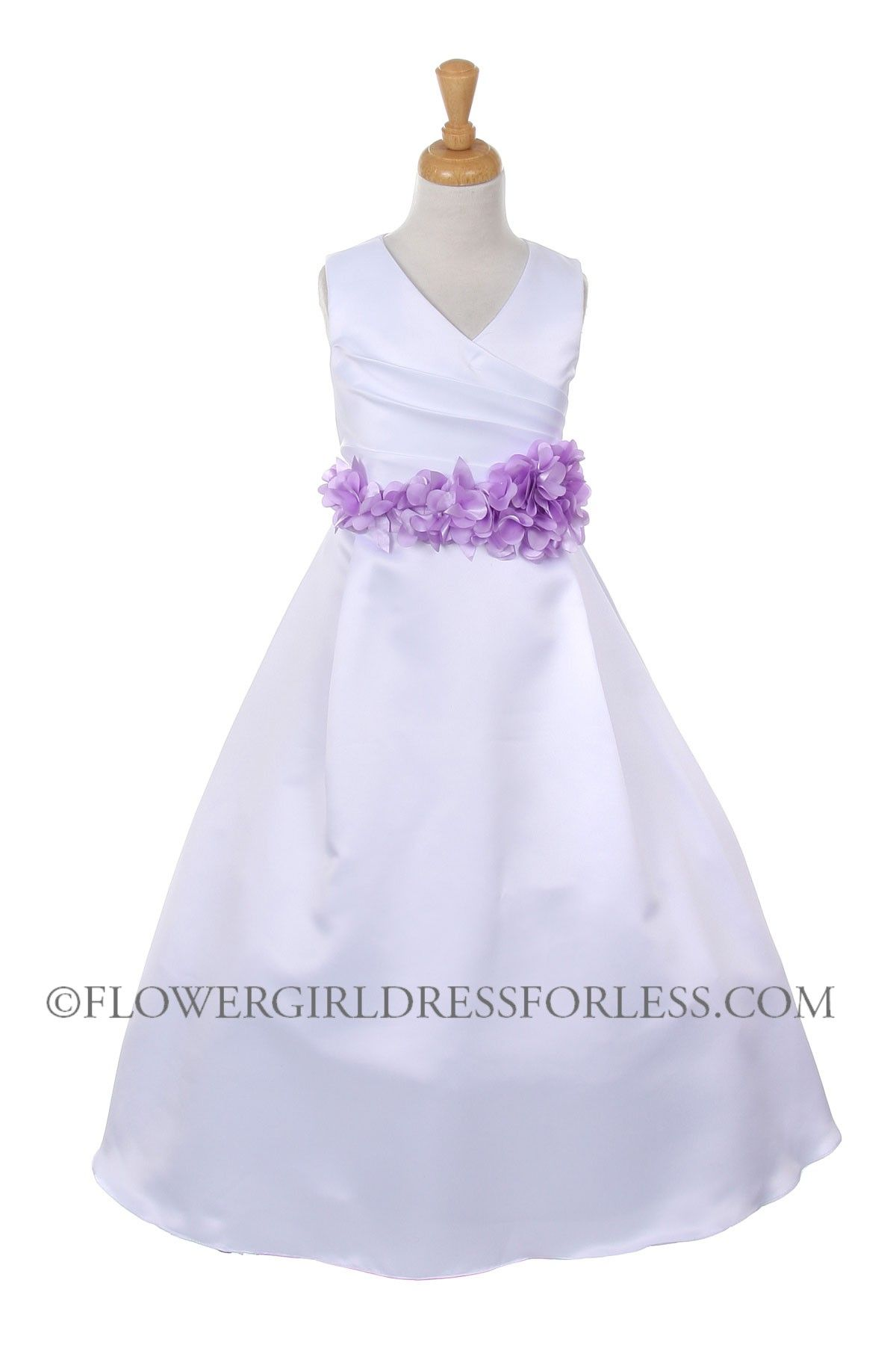25ee33f605e Girls Dress Style 1186- Choice of WHITE or IVORY Dress with Lavender Sash   45.99