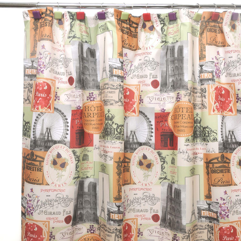 Fabric paris shower curtain - Bienvenue Paris Shower Curtain