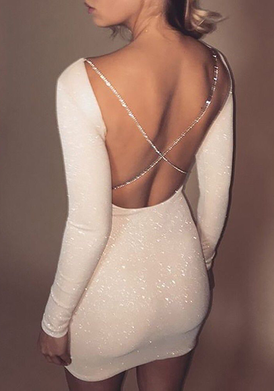 Photo of Beige Sequin Cross Back Backless Long Sleeve Fashion Tight Mini Dress Cocktail …