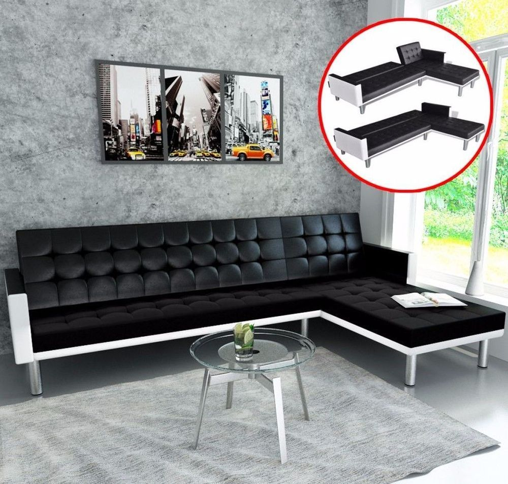 Black Leather Adjustable Sofa 5 Seater L Shaped Modern Living Room Furniture Blackleatheradjustable Modern