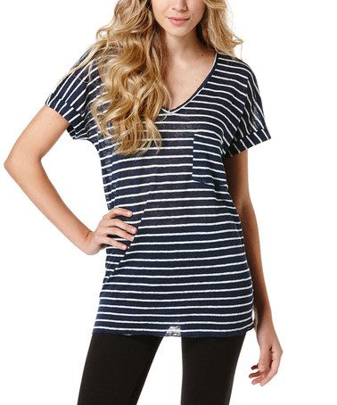 Look what I found on #zulily! Navy & White V-Neck Tee #zulilyfinds