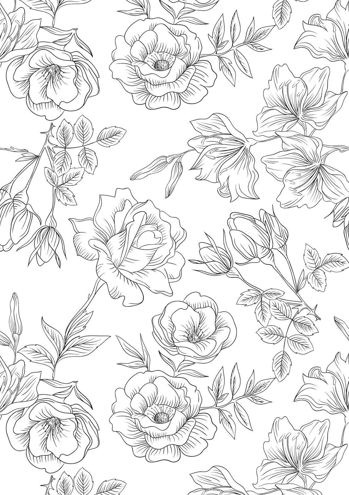 Mothers Day Flowers Coloring Pages Free Large Images Flower Coloring Pages Printable Flower Coloring Pages Spring Coloring Pages