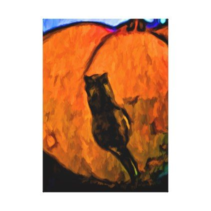 Little Black Cat and a Big Orange Pumpkin Canvas Print - halloween - halloween decorations black cat