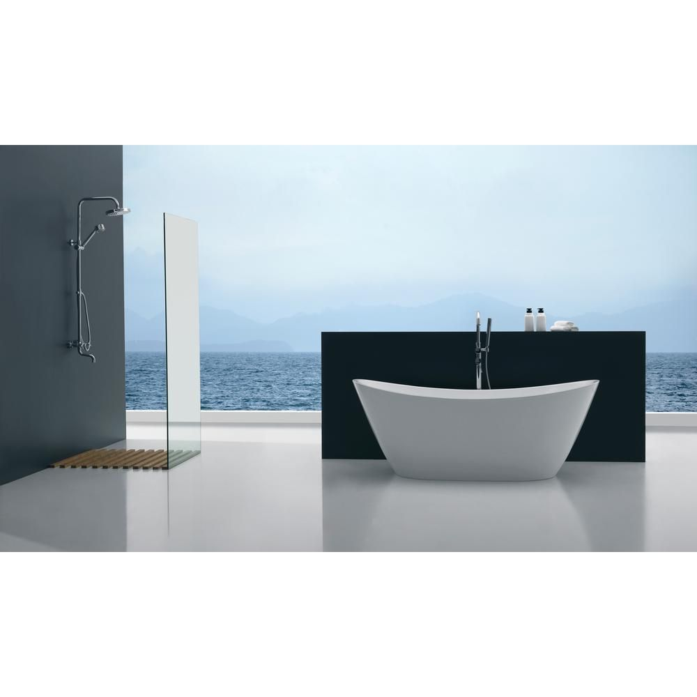 ANZZI Cross 5.58 ft. Acrylic Flatbottom Non-Whirlpool Bathtub in ...