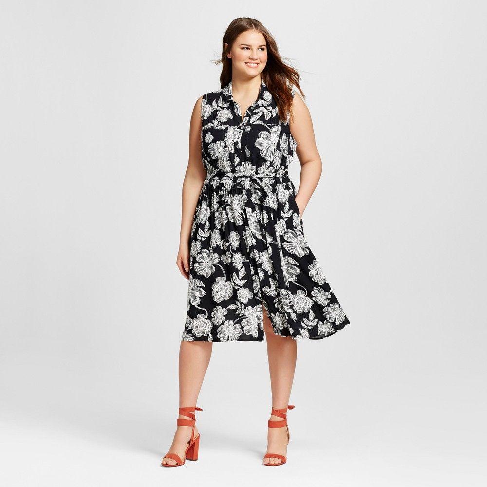 Plus Size Sleeveless Button Up Shirt Dress - Who What Wear Black ...