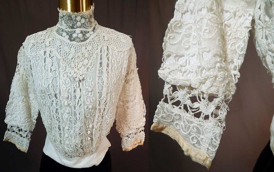 0a8f44f3051eb Edwardian Embroidered White Net Mixed Crochet Lace Bodice BlouseThis antique  Edwardian era embroidered white net mixed crochet lace bodice blouse 1910.