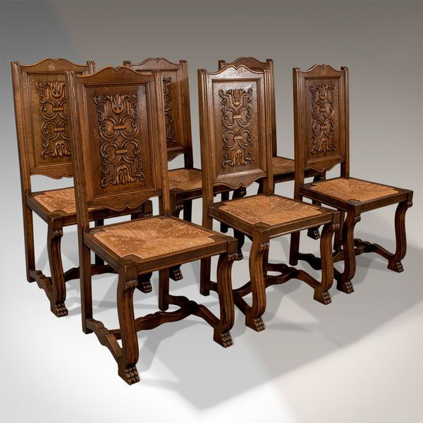 Antique Oak Set Of 6 French Kitchen Dining Chairs Quality