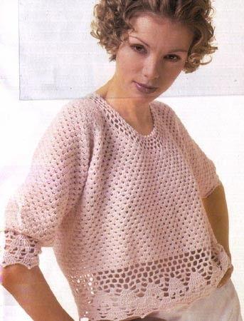 Chorrilho de ideias: Blusa cor de rosa manga curta em crochet com esque...